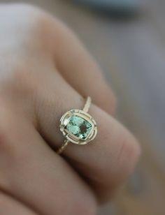 Beautiful Gold and Green Tourmaline Gemstone Ring