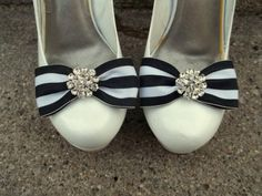 Blue or Black White Striped Nautical Shoe Clips - pair - Rhinestone Bling, sailer shoe clips fabric bow clips