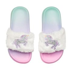 Girls 4-16 Unicorn Slide Sandals #unicorn #slippers #for #girls #size #2 Girls 4-16 Unicorn Slide Sandals, Size: 12/13, White Oth Unicorn Fashion, Unicorn Outfit, Girls Sandals, Girls Shoes, Kid Shoes, Girls Fashion Clothes, Kids Fashion, Fashion Bags, Fashion Shoes