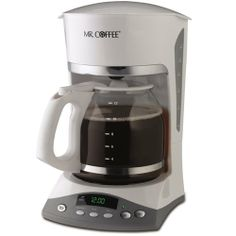 Mr. Coffee SKX20 12-Cup Programmable Coffeemaker, White - http://www.teacoffeestore.com/mr-coffee-skx20-12-cup-programmable-coffeemaker-white/