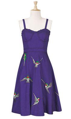 Purple orset style embellished hummingbird sundress