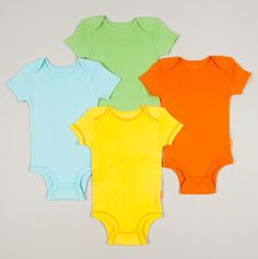 Love the colors!    http://www.totsy.com/sale/disney-cuddly-bodysuit/disney-4pk-solid-creepers-yellow-orange-blue-lime