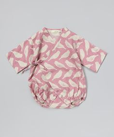 Pink Bird Linen Wrap Bodysuit - Infant