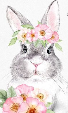 Easter Art, Hoppy Easter, Easter Crafts, Easter Bunny, Watercolor Animals, Watercolor Paintings, Easter Paintings, Easter Wallpaper, Bunny Painting