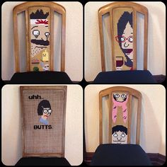"""8dalila8: """"Finally finished, upholstered and all. All found chairs I decided to clean up and cross stitch Bobs Burgers on. (at House of Bleeding Fingers and Sore Backs) """" And all together! I bet you get great reactions from guests!"""