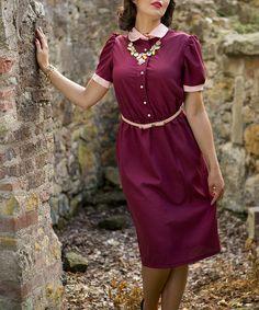 Burgundy Paxton Dress by Shabby Apple #zulily #zulilyfinds