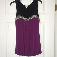 Flattering Tank Top Elastic Band at bottom. Silver accent at bust line. Studio Y Tops Tank Tops