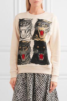 Gucci - Printed Cotton-jersey Sweatshirt - Cream - xx small