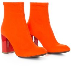{{meta.title}} ❤ liked on Polyvore featuring shoes, boots, orange, orange boots and orange shoes