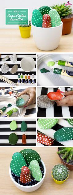 DIY - Sassi cactus per decorare creativamente la casa! #cactus #stones #sassi #faidate #diy #decor #homedecor #homedecoration #creativity