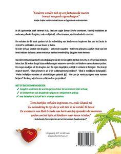Omslag  (back) 'De avonturen van Mali & Keela, een deugdenboek voor kinderen' door Jonathan Collins, de Nederlandse uitgave is verzorgd door Uitgeverij ACT on Virtues