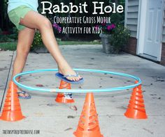 activities for kids rabbit hole Hulda hoop gross motor