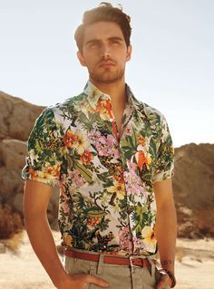 Many would shy away from floral shirt - here's a quick lesson on how to wear it. Keep your pants and accessories within the color range. WIth a good dash of greens and khakis, you would look dashing enough with looking too paisley.
