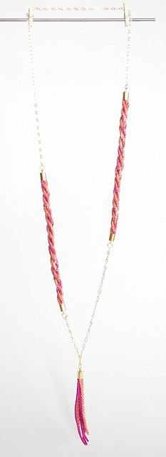 Long chain and braided rope necklace with tassel - http://www.thevitrine.com/products/Long-Asymmetrical-Chain-Necklace%252dPink.html #jewellery #boho