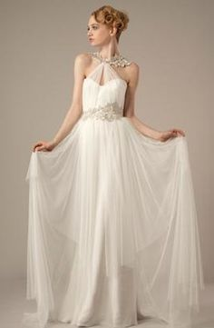 Halter A-Line Wedding Dress  with Natural Waist in Tulle. Bridal Gown Style Number:32814667