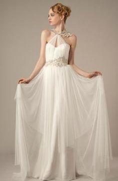Bridal Gowns: Elizabeth Fillmore A-Line Wedding Dress with Halter Neckline and Natural Waist Waistline