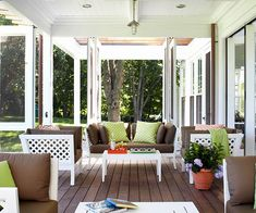 Opening Up Collapsible screens allow this sun porch to transform from closed and protected to open and airy in no time at all. A trendy color scheme of chocolate brown, lime green, and rusty orange infuses the space with energy. The lattice pattern featured on the furniture adds another layer of visual interest.