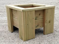 Premium Square Wooden Decking Planter 470mm wide x 360mm high The inside measures 300mm wide x 235mm deep New Planters handmade at our local timber yard, made from treated decking boards. Each planter has holes in the base for drainage. These planters are really high quality and will last