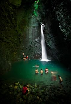 Swimming at Kozjak Waterfall, Slovenia