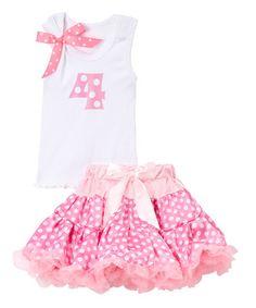 Look what I found on #zulily! Pink & White '4' Tank & Pettiskirt - Kids #zulilyfinds