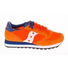 Orange and Blue Jazz Original Sneaker ($94) ❤ liked on Polyvore featuring shoes, sneakers, orange, orange sneakers, saucony sneakers, saucony trainers, blue sneakers and orange shoes