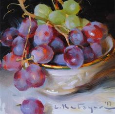 """Daily Paintworks - """"Red and Green Grapes"""" - Original Fine Art for Sale - © Elena Katsyura"""