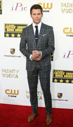 James Marsden in an Ovadia & Sons grey plaid suit at the 2014 Critics' Choice Awards | Trend 911