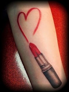 MAC lipstick tube tattoo with lipstick heart.