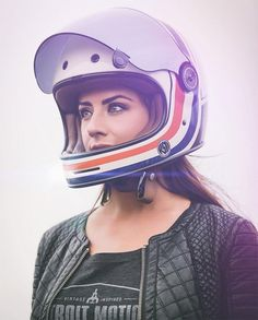 Motorcycle Parts and Riding Gear - Roland Sands Design Motorbike Girl, Motorcycle Outfit, Motorcycle Helmets, Motorcycle Girls, Cafe Racer Helmet, Cafe Racer Girl, Helmet Shop, Lady Biker, Biker Girl