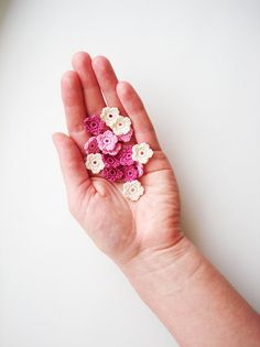 Crochet Flower Appliques Tiny Small Flowers