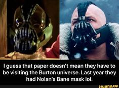 I guess that paper doesn't mean they have to be visiting the Burton universe. Last year they had Nolan's Bane mask IoI. - I guess that paper doesn't mean they have to be visiting the Burton universe. Last year they had Nolan's Bane mask lol. Bane Mask, Funny Batman Memes, Science Humor, Ioi, Popular Memes, Fun Facts, Universe, Space, Movies