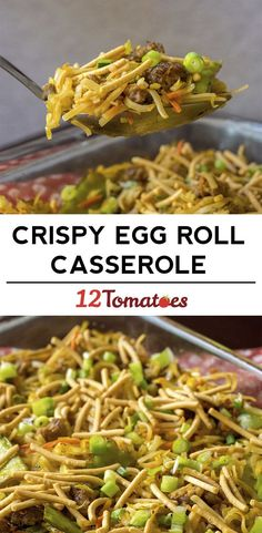 Crispy Egg Roll Casserole INGREDIENTS 1 pound ground pork1 (10 oz.) bag coleslaw mix3 cloves garlic, minced1 tablespoon fresh ginger, grated1 cup snow pea pods, cut in 1/2-inch pieces1/2 cup carrot, grated1/2 cup green onion, chopped, divided1/2 cup teriyaki baste and glaze sauce, divided2 tablespoons low-sodium soy sauce2 1/2 cups low-sodium chicken broth2-3 teaspoons hot sauce, we used Sriracha, optional1 (8.8 oz) package rice stick noodles1 cup chow mein noodles2 tablespoons olive or…