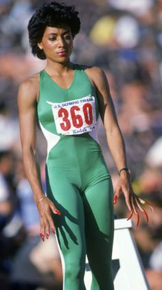 Florence Griffith Joyner focuses as she prepares for competition during the 1984 Olympic trials. (Photo by Tony Duffy/Getty Images) *** Local Caption *** Florence Griffith Joyner Flo Jo, 1984 Summer Olympics, Us Olympics, Beautiful Black Women, Amazing Women, Amazing People, Jackie Joyner Kersee, Olympic Trials, Vintage Black Glamour