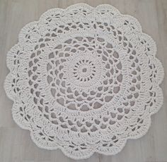 before - super thick cotton crochet doily - 110cm