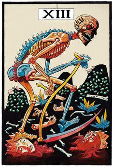 L'Arcane Sans Nom (The Nameless Arcanum) Tarot by Jamie Hewlett (Gorillaz). Tarot Death, Jamie Hewlett Art, Tarot Cards Major Arcana, Tarot Tattoo, Le Tarot, Saatchi Gallery, Spiritus, Desenho Tattoo, Art Inspo