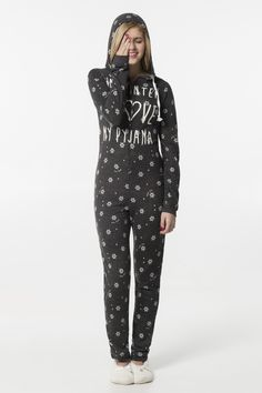 Charcoal graphic hooded flannel onesie with snowflakes Pyjamas, Pjs, Hooded Flannel, Must Haves, Hoods, Charcoal, Onesies, My Style, Lady