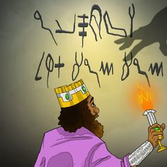 """""""Suddenly the fingers of a human hand appeared and wrote on the plaster of the wall, near the lampstand in the royal palace. The king watched the hand as it wrote. His face turned pale and he was so frightened that his legs became weak and his knees were knocking."""" (Dan 5:5-6) #babylon"""