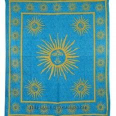 Blue Psychedelic Burning Sun Hippy Tapestry Wall Hanging Bedding