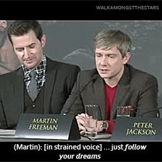 """""""Martin at the Hobbit Press Conference in London (seriously watch the clip to hear his voice)""""  Tips for the up and coming? (.Gif) set and link to video"""