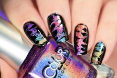 Simply Nailogical: No-water holographic (drag) watermarble! Colorful Nail Designs, Toe Nail Designs, Beautiful Nail Designs, Nail Polish Designs, Beautiful Nail Art, Love Nails, How To Do Nails, Pretty Nails, Marble Nail Art