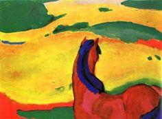 Franz Marc (1880-1916) Samen met August Macke bezocht Franz Marc in 1912 Parijs, waar het tweetal de kunstenaar Delaunay ontmoette. In 1912 schildert Franz Marc De toren der blauwe paarden. Op dit schilderij staan vier blauwe paarden. Omdat zulke blauwe paarden in werkelijkheid niet bestaan, zal het de kunstenaar niet om een weergave van die werkelijkheid gaan. Het gaat Marc, en met hem alle andere expressionisten, om iets anders.