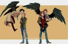 Do you prefer destiel or sabriel? And btw gabe's wings are golden,not black