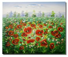 Oil Paintings - Wall Art finished in USAHistory: Poppy Field is a hand finished canvas oil painting. This charming painting features a hand painted view of a poppy field. Vibra