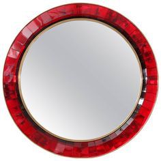 Mirror with Red Hand Cut Crystal Glass by Ghiro   From a unique collection of antique and modern wall mirrors at https://www.1stdibs.com/furniture/mirrors/wall-mirrors/