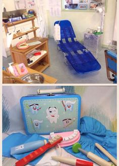 """A Dentist office is a fun and easy way to teach children about proper teeth cleaning. This way of teaching gives children the opportunity to be fully engaged in experiences while making it fun for them. Many materials could be added to this dramatic centre and it ties into ELECT 3.3 for infants (expressive language skills) as they learn words such as """"dentist"""" and """"toothbrush"""". It also ties into ELECT 1.3 for toddlers (parallel play) as children play alongside each other using role playing."""