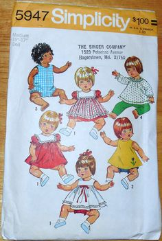 1970s Simplicity 5947 Doll Pattern-Size Medium by ShellyisVintage-Etsy