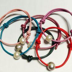 Pastel leather and Pearl mermaid bracelets