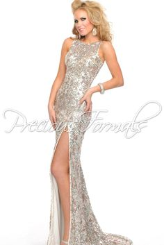 Low Cowl Back Sparkly Sequin Prom Dress with a High Slit - Lux Gal by Precious Formals L8916 Ivory Illusion Evening Gown - RissyRoos.com