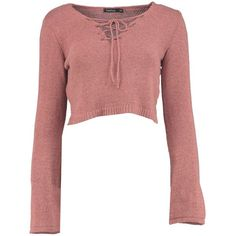 Mariah Bell Sleeve Crop Lace Up Jumper (35 CAD) ❤ liked on Polyvore featuring tops, sweaters, lace front sweater, red jumper, cropped jumper, jumper top and jumpers sweaters