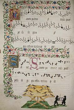 Renaissance song. the symbols, called neumes, were the precursors to modern music notation.